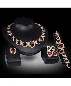 Red Crystal Zircon Pendant Necklace Jewelry Set