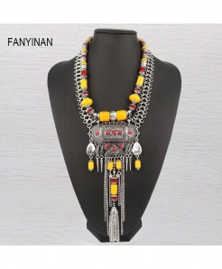 JIANXI Golden Ethnic Statement Hollow Out Necklace