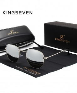 KINGSEVEN Silver Classic Reflective Hexagon Stainless Steel Sunglasses