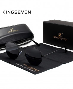 KINGSEVEN Black Classic Reflective Hexagon Stainless Steel Sunglasses