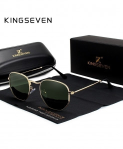 KINGSEVEN Golden Green Classic Reflective Hexagon Stainless Steel Sunglasses