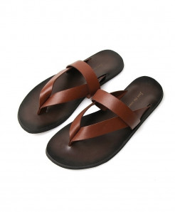 PADEGAO Brown  Tri Straps Flat Anti-Slip Slippers