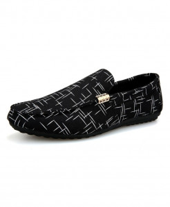 ZYYZYM Black Pattern Style  Light Canvas Breathable Loafers