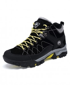 Black Yellow Laces Winter With Fur Rubber Ankle Boots