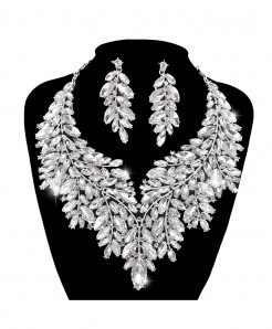 YOUFIR Rhinestone Crystal Statement Silver Jewelry Set