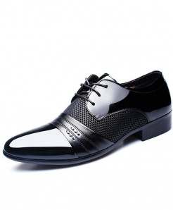 Merkmak Black PU Leather Breathable Formal Shoes