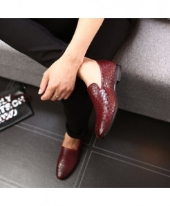 Merkmak Red Braid Leather Italian Formal Loafers