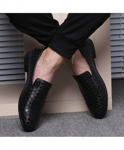 Merkmak Black Braid Leather Italian Formal Loafers