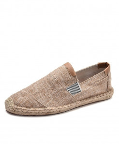 OUDINIAO Khaki Breathable Espadrilles Slip On Canvas Shoes