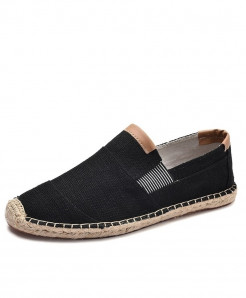 OUDINIAO Black Breathable Espadrilles Slip On Canvas Shoes