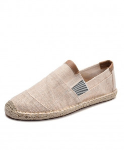 OUDINIAO Beige Breathable Espadrilles Slip On Canvas Shoes