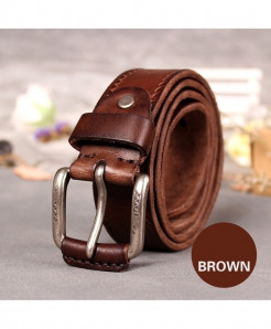 HREECOW Brown Cow Leather Strap Vintage Pin Buckle Belt