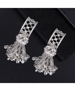GODKI Silver Handmade Long Tassel Drop Mirco Paved Earring