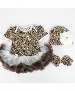 Cheetah Baby Chiffon Infant Girl Cupcake Outfit Dress
