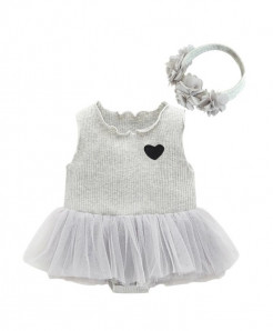 Pearl Diary Gray Netted Baptism Gown Baby Girl Dress