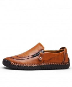 MVVT Light Brown Classic Split Leather Comfortable Loafers
