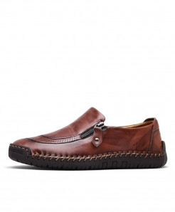 MVVT Dark Brown Classic Split Leather Comfortable Loafers