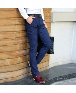 COL CATLEN Dark Blue Straight Dress Slim Fit Casual Pant