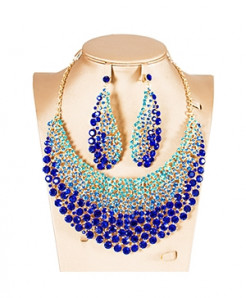 LAN PALACE Blue Nigerian Jewelry Set