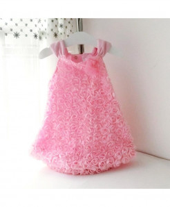 LILIGIRL Pink Rosette Flowers Princess Dress