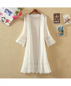 FTLZZ White Lace Thin Cardigan Casual Coats