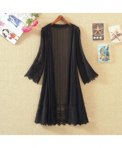 FTLZZ  Black Lace Thin Cardigan Casual Coats