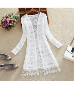 FTLZZ White Hollowing Shaped Tassels Long Sleeve Long Cardigan Coat