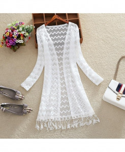 FTLZZ White Hollowing Tassels Long Sleeve Long Cardigan Coat