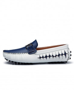 AGSan Dark Blue Italian Design Moccasins Loafers