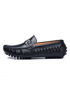 AGSan Black Italian Design Moccasins Loafers