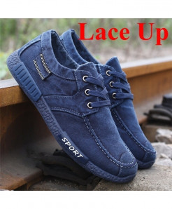 MOSHU Blue Denim Lace-Up Casual Shoes