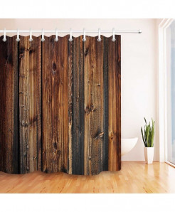 Rustic Wood Panel Brown Plank Fence Shower Curtain