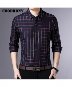 COODRONY Mini Boxes Black Long Sleeve Casual Shirt