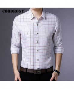 COODRONY Mini Boxes White Long Sleeve Casual Shirt