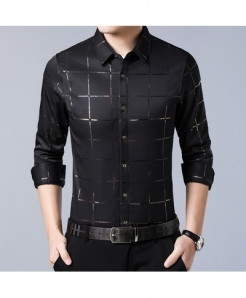 MIACAWOR Black Plaid Casual Long Sleeve Shirt