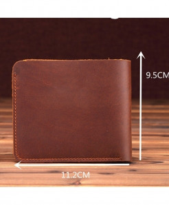 Brown Leather Retro Handmade Minimalist Wallet