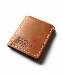 Gathersun Tan Trifold Leather Wallet