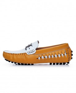 AGSan Yellow Italian Design Moccasins Loafers