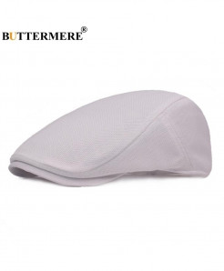 BUTTERMERE White Breathable Solid Cotton Beret Hat