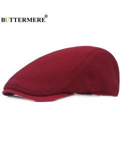 BUTTERMERE Red Breathable Solid Cotton Beret Hat