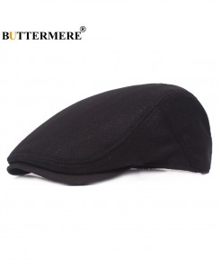 BUTTERMERE Black Breathable Solid Cotton Beret Hat