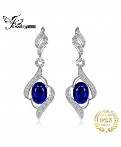 JewelryPalace  Blue Gemstones Sapphire Drop Dangle Earrings
