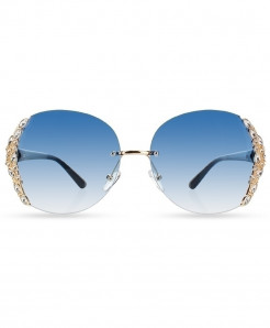 HBK Blue Rimless Rhinestone Gradient Sunglasses