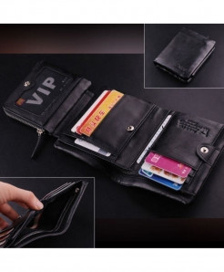 Choco Black ITALIAN Leather Tri-Fold Pocket Wallet