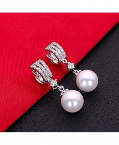 White AAA Cubic Zirconia Pearl Fashion Jewelry 925 Sterling Silver Stud Earrings