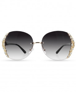HBK Gray Rimless Rhinestone Gradient Sunglasses