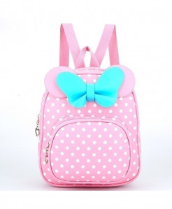 ZIRANYU Pink Dotted Bow School Bag