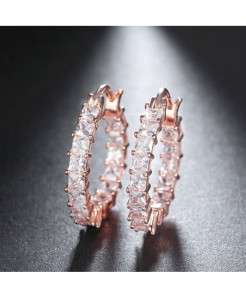 ORSA JEWELS Rose Gold Round Shape Austrian Cubic Earring