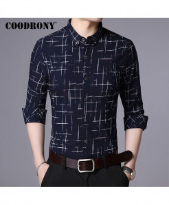 COODRONY Navy Blue Plaid Pattern Casual Shirt