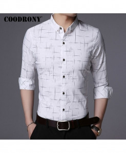 COODRONY White Plaid Pattern Casual Shirt